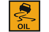 Oil on Road Ahead Sign - Temporay traffic signs