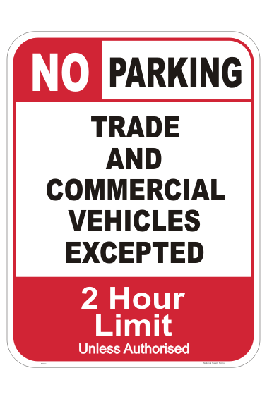 No Parking, Trade vehicles only - Restricted Vehicle Type Parking Signs