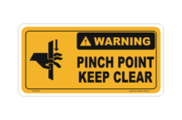 Pinch Point Keep Clear sign