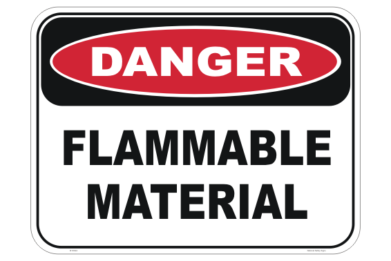 Flammable Material sign. Danger, Flammable materials