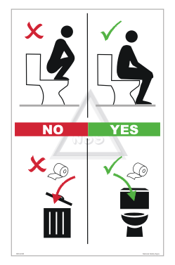 Combined Squatting Toilet Paper Sign