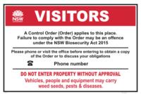 NSW Biosecurity Farm Control Order sign