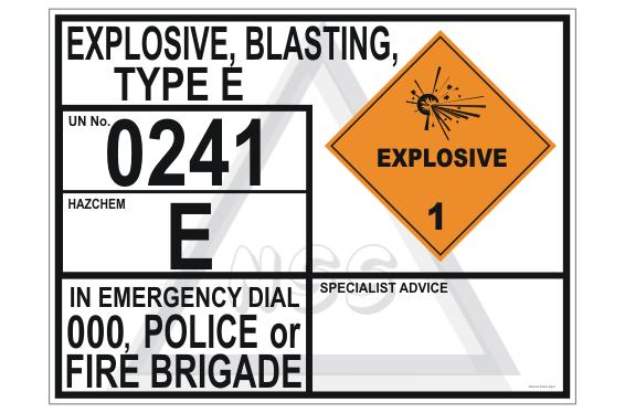 Explosive Blasting Type E transport panel
