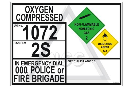 Oxygen Compressed Emergency Information Panel
