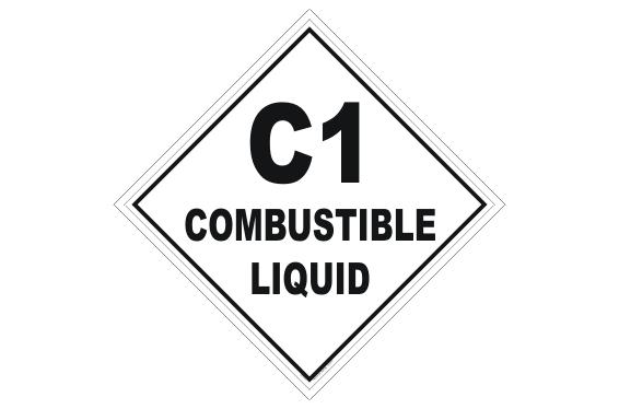 Class 1 Combustible Liquid Placard