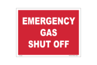 Gas Shut Off sign. Emergency shut valve label