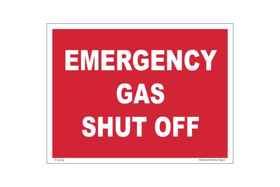 Gas Shut Off sign. Emergency shut valve label