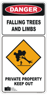 Danger Falling Trees Sign