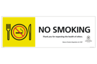 SA No Smoking in Dining Area Sign