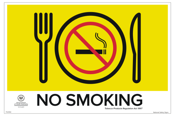 SA Dining Area Smoking Sign