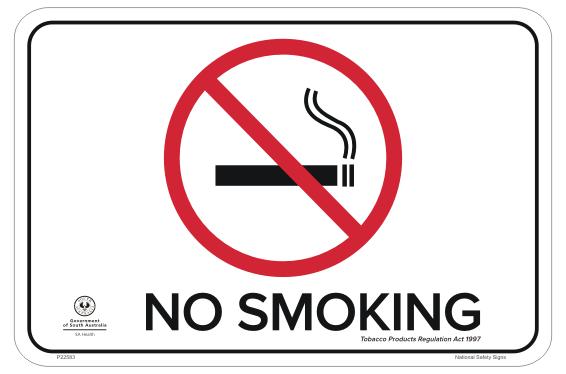 SA Health No Smoking Sign