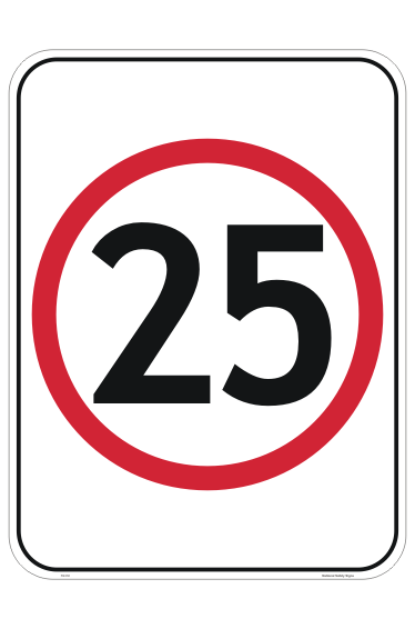 Speed Limit 25 KPH sign