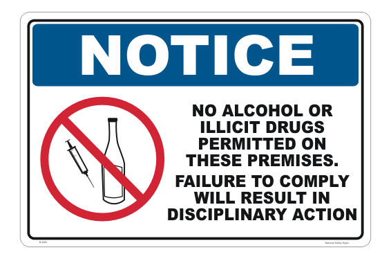 No Alcohol or Illicit Drugs sign