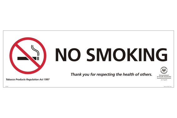 SA No Smoking Sign For South Australia