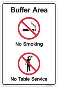 Buffer Area No Smoking sign