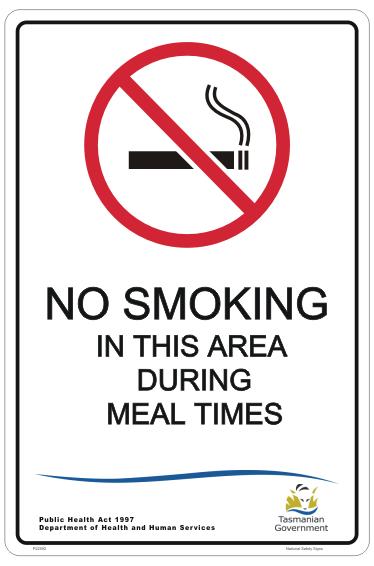TAS meal times smoking sign