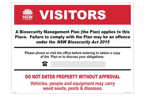 NSW Biosecurity sign for Farm Gate