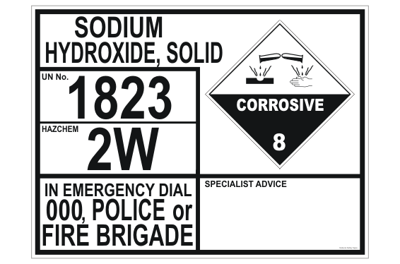 Sodium Hydroxide Solid Transport Panel