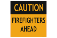 Firefighters Ahead sign