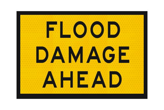 Flood Damage Ahead sign