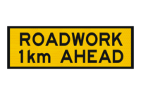 T1-16 Roadwork 1km ahead sign