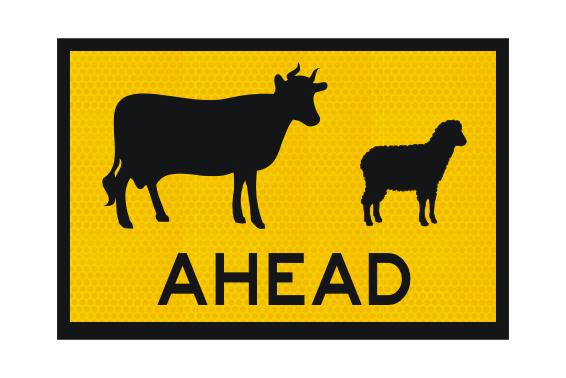 T1-19A Livestock Ahead sign