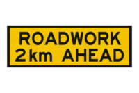 T1-201 Roadwork 2km Ahead sign