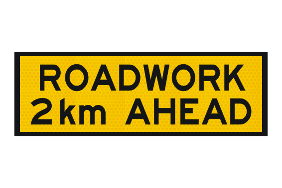T1-201 Roadwork 2km Ahead sign