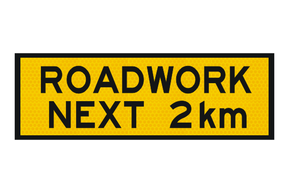 T1-24 Roadwork Next 2km sign