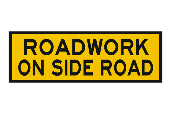 T1-25 Roadwork on side road sign