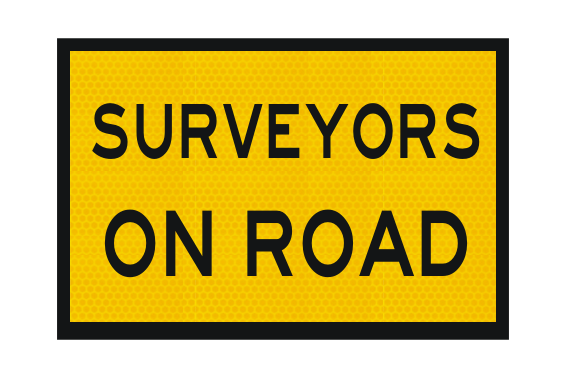 T2-239 Surveyors on Road Sign