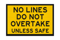 T3-12A No Lines Do Not Overtake Sign