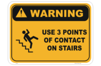 3 Points of Contact Stairs Sign