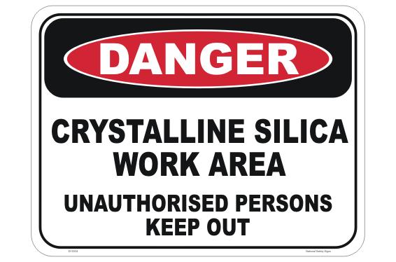 Crystalline Silica Work Area sign