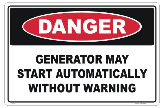 Generator Starts Automatically sign