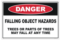 Tree Harvesting Falling Objects Hazard sign - Tree felling Danger