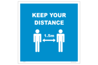 Keep Your Distance floor sign - 1.5 metre distance