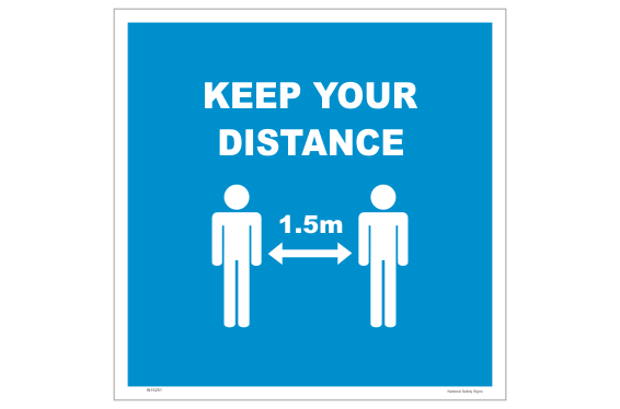 Keep Your Distance floor sign - 1.5 metre distance