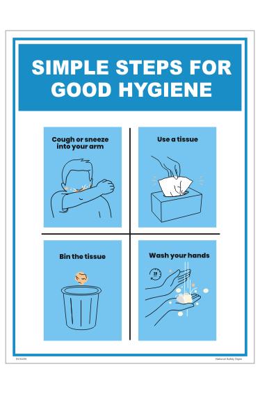 Simple Steps for Good Hygiene sign