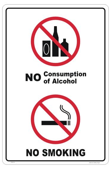 No Alcohol No Smoking sign