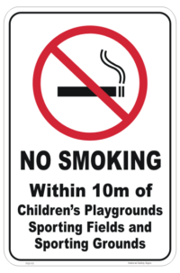 No Smoking in Playgrounds sign