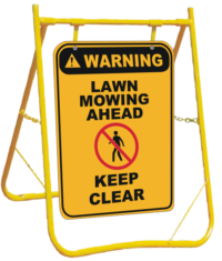 Lawn Mowing sign with stand
