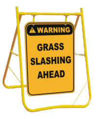 Grass Slashing Ahead sign with stand
