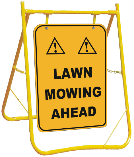 Lawn Mowing Ahead sign with Stand