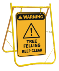 Tree Felling Ahead sign with Stand