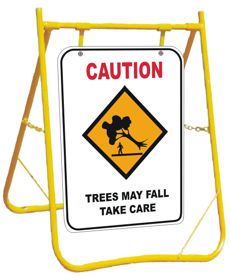 Trees May Fall sign with Stand