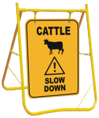 Cattle Sign with Stand - cattle slow down roadside sign