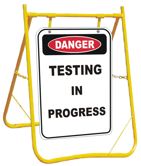 Testing in Progress sign with stand