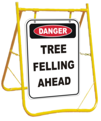 Danger Tree Felling Ahead sign with stand