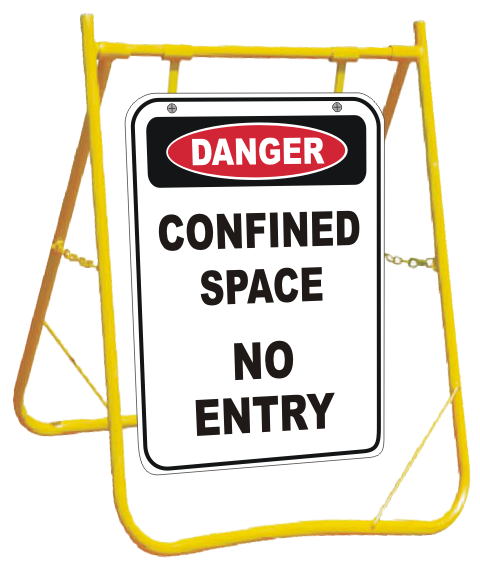 Confined Space sign with stand